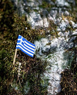 Photograph - Greek Flag In Miniature by Lorraine Devon Wilke
