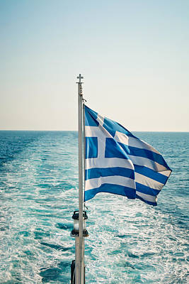 Ocean Sailing Photograph - Greek Flag by Tom Gowanlock
