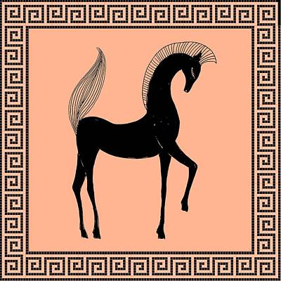 Digital Art - Greek Horse Peach by Stephanie Grant