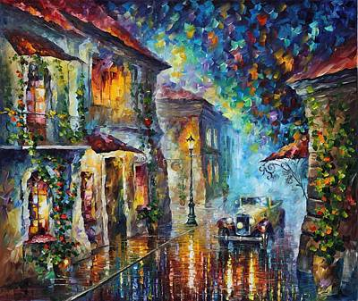Greek Night - Palette Knife Oil Painting On Canvas By Leonid Afremov Art Print by Leonid Afremov