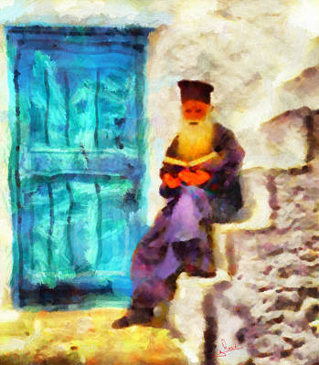 Monk Painting - Greek Priest by George Rossidis