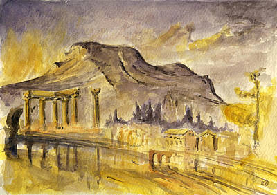 Column Painting - Greek Ruins by Juan  Bosco