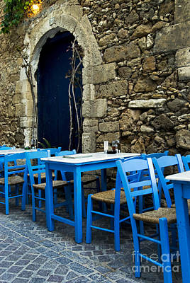 Desserted Photograph - Greek Tables And Chairs. by Borislav Stefanov