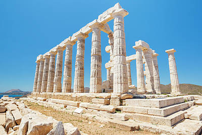 Sounion Photograph - Greek Temple Ruins, Temple Of Poseidon by Design Pics Vibe
