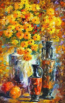 Impressionist Vase Floral Painting - Greek Vases by Leonid Afremov