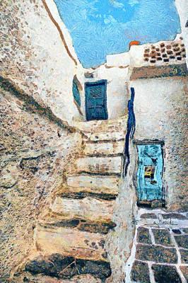 Blue Painting - Greek Village 44 by George Rossidis