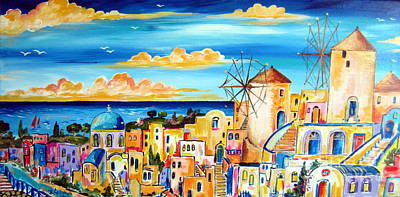 Greek Village Art Print