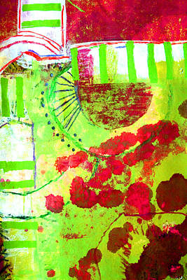 Abstract Movement Mixed Media - Green 3 by Nancy Merkle