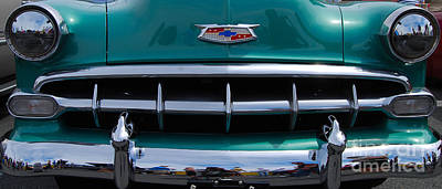Photograph - Green '54 Chevy Grill by Mark Spearman