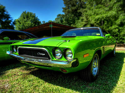 Green '72 Dodge Challenger Rallye 001 Art Print by Lance Vaughn