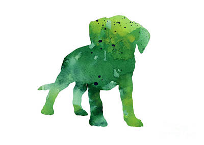 Puppy Mixed Media - Green Abstract Boxer Puppy Watercolor Art Print by Joanna Szmerdt