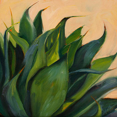 Agave Painting - Green Agave Right by Athena Mantle
