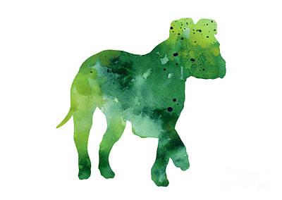 Puppies Mixed Media - Green Amstaff Puppy Silhouette by Joanna Szmerdt