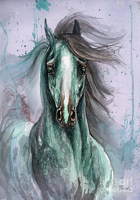 Green And Blue Arabian Horse Art Print by Angel  Tarantella