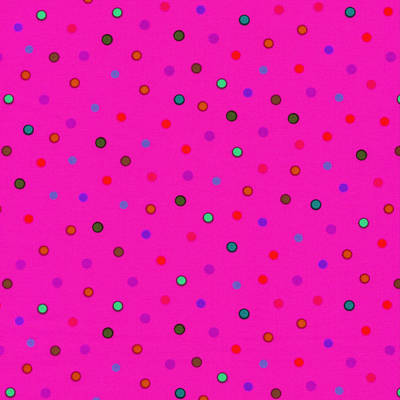 Green And Blue Polka Dots On Pink Fabric Background Art Print