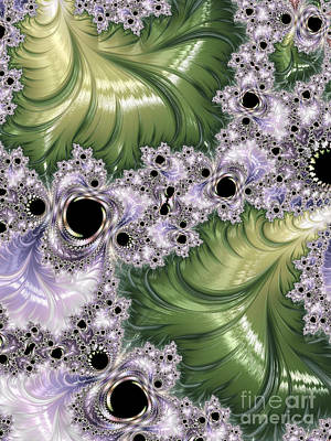 Neon Colors Digital Art - Green And Lavender Fractal Abstract  by Heidi Smith