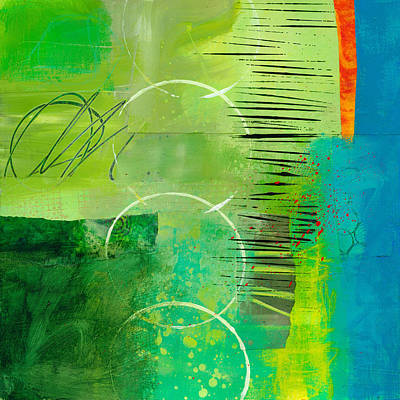 Abstract Collage Painting - Green And Red 5 by Jane Davies