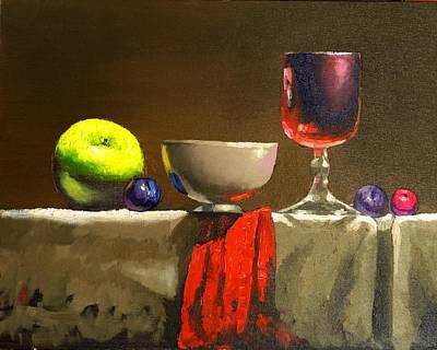 Plum Drawing - Green And Red by Anatoli Razenberg