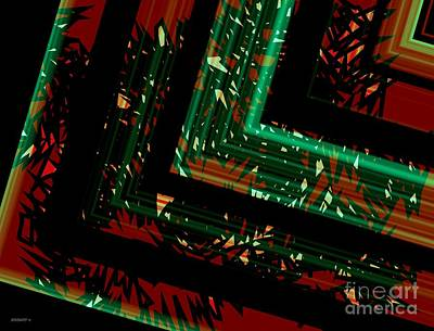 Green And Red Geometric Art  Art Print by Mario Perez