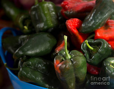 Photograph - Green And Red Peppers In Blue Container by Rebecca Cozart