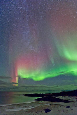 Aurora Photograph - Green And Red Sky by Frank Olsen