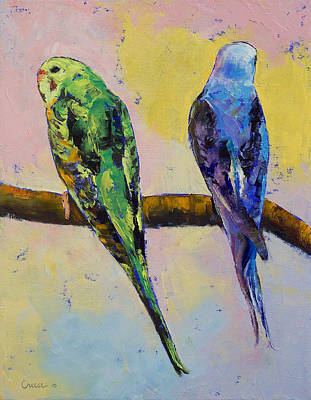 Impasto Oil Painting - Green And Violet Budgies by Michael Creese