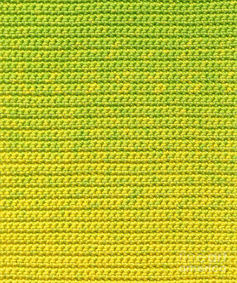 Abstract Tapestry - Textile - Green And Yellow Crochet Textile by Kerstin Ivarsson