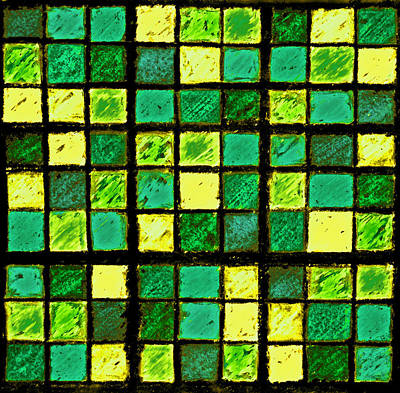 Unique Quilts Photograph - Green And Yellow Sudoku by Karen Adams