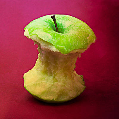 Harvest Deco Photograph - Green Apple Core 1 by Alexander Senin