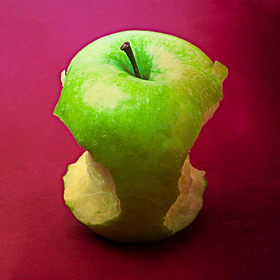 Harvest Deco Photograph - Green Apple Core 2 by Alexander Senin
