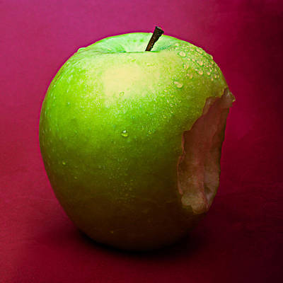 Harvest Deco Photograph - Green Apple Nibbled 1 by Alexander Senin