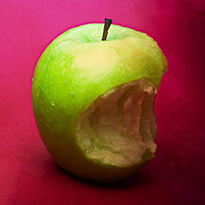 Harvest Deco Photograph - Green Apple Nibbled 3 by Alexander Senin
