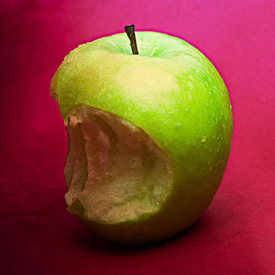 Harvest Deco Photograph - Green Apple Nibbled 4 by Alexander Senin