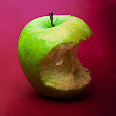 Harvest Deco Photograph - Green Apple Nibbled 5 by Alexander Senin