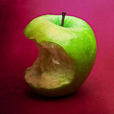 Harvest Deco Photograph - Green Apple Nibbled 6 by Alexander Senin