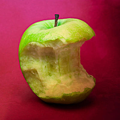 Harvest Deco Photograph - Green Apple Nibbled 7 by Alexander Senin