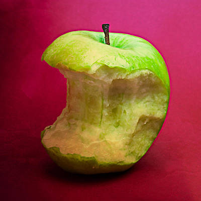 Harvest Deco Photograph - Green Apple Nibbled 8 by Alexander Senin