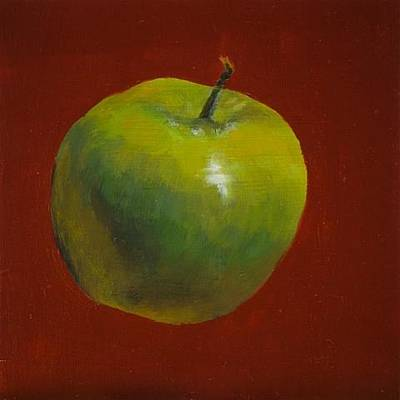 Painting - Green Apple On Red by Joyce Snyder