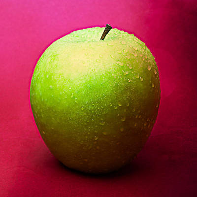 Harvest Deco Photograph - Green Apple Whole 1 by Alexander Senin