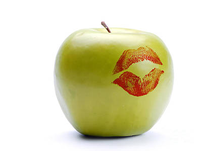 Photograph - Green Apple With Lipstick Print by Roman Milert