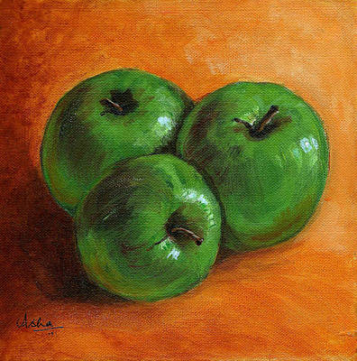 Green Apples Art Print by Asha Sudhaker Shenoy