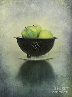 Enamel Photograph - Green Apples In An Old Enamel Colander by Priska Wettstein