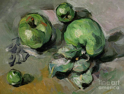 Green Apples Painting - Green Apples by Paul Cezanne