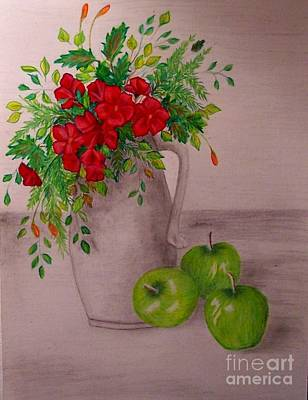 Drawing - Green Apples by Peggy Miller
