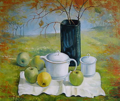 Green Apples - Still Life Original by Elena Oleniuc