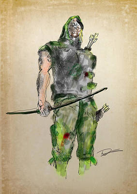 Drawing - Green Arrow by Tim Nichols