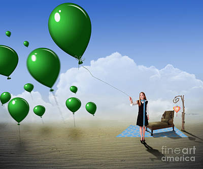 Photograph - Green Balloons by Juli Scalzi