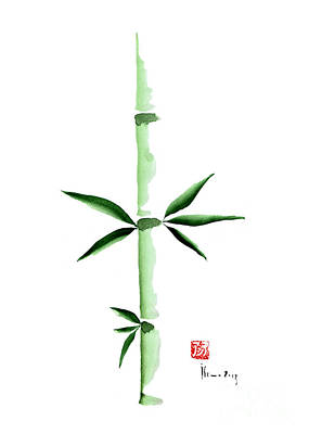 Bamboo Painting - Green Bamboo Plant Grass Bamboos Tribe Woody Watercolor Painting by Johana Szmerdt