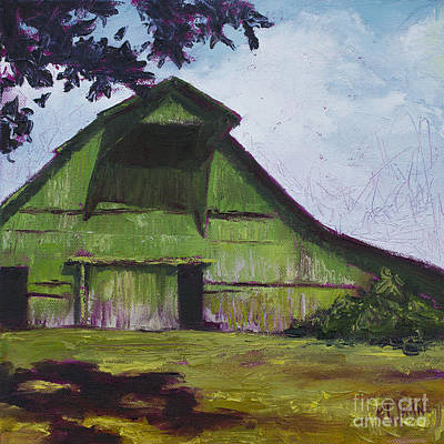 Barn Painting - Green Barn by Kristin Whitney