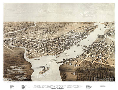 Cartography Painting - Green Bay - Wisconsin - 1867 by Pablo Romero